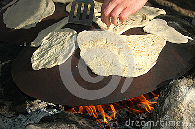 Outdoor Cooking Of Pita Bread