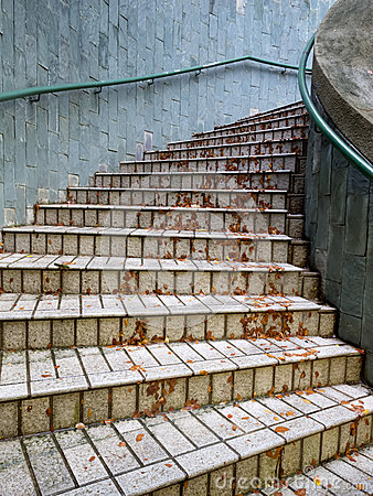Outdoor curve stairs after rain