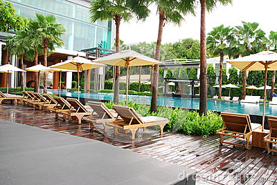 Outdoor design pool and chairs in thailand