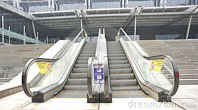Outdoor escalators of modern building