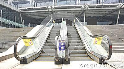 Outdoor escalators of modern building