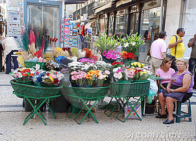 Outdoor flower market in Lisbon (Portugal) Editorial Photo