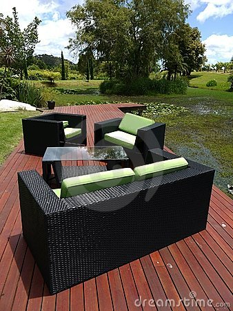 Outdoor furniture: chairs on garden platform - v