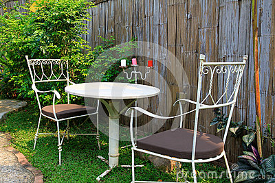 Outdoor furniture in the garden