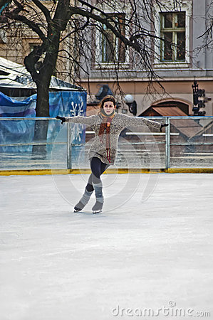 Outdoor ice rink under the sky Editorial Photo