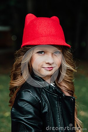 Free Outdoor Lifestyle Portrait Of Stylish Little Girl Teenager On City Park. . Beautiful Child, Wearing. Royalty Free Stock Photos - 103783518