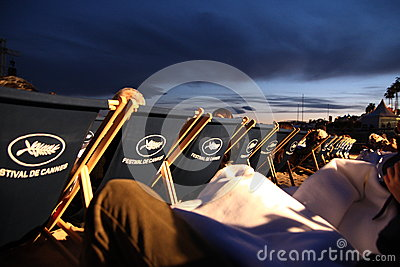 Outdoor movie projection during Cannes film festival 2013 Editorial Photography
