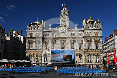 Outdoor Opera show and City Hall Editorial Stock Image