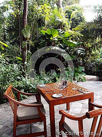 Outdoor patio dining area, tropical garden