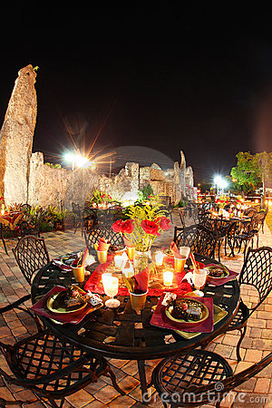 Outdoor patio at night