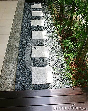 Outdoor pebble stones