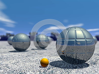 Outdoor petanque game - 3D render
