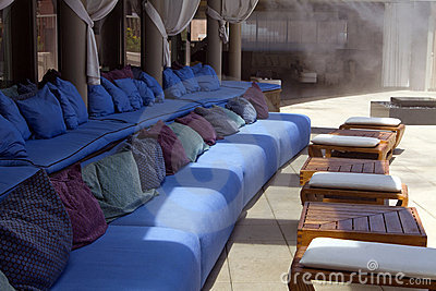 Outdoor pool patio lounge area seating