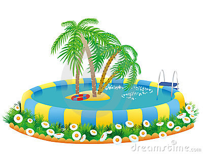 Outdoor pool and tropical island