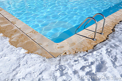 Outdoor pool in winter