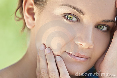 Outdoor Portrait Beautiful Woman With Green Eyes