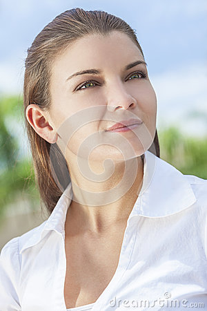 Outdoor Portrait of Beautiful Woman Green Eyes