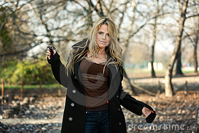 Outdoor Portrait of Beautiful Woman in Park