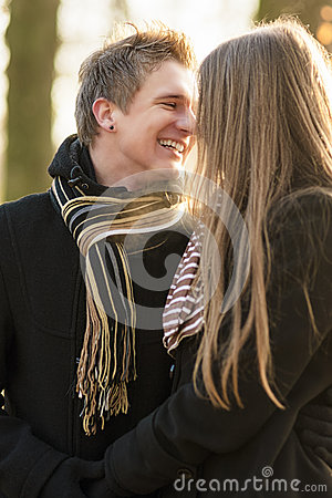 Outdoor portrait of  couple smiling