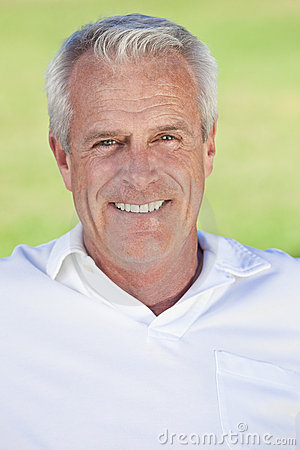 Outdoor Portrait of A Happy Handsome Senior Man