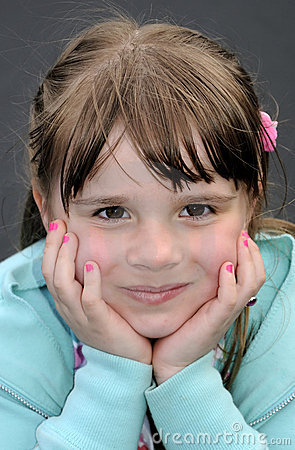 Outdoor portrait for happy young girl