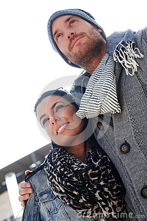 Free Outdoor Portrait Of Trendy Couple Royalty Free Stock Photo - 29023555