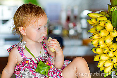 Outdoor Portrait Of Toddler Girl With Bananas Royalty Free Stock Images - Image: 15698869