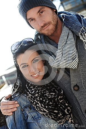 Outdoor portrait of young couple