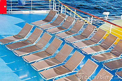 Outdoor relaxation area on cruise liner