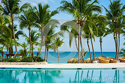 Outdoor resort pool Swimming pool of luxury hotel. Swimming pool in luxury resort near the sea. Tropical Paradise. Swimming pool i