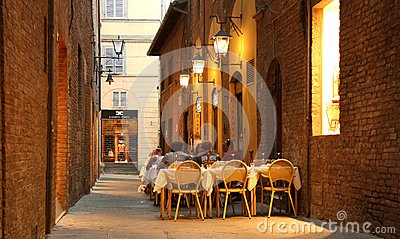 Outdoor restaurant in Siena (Italy) Editorial Stock Image