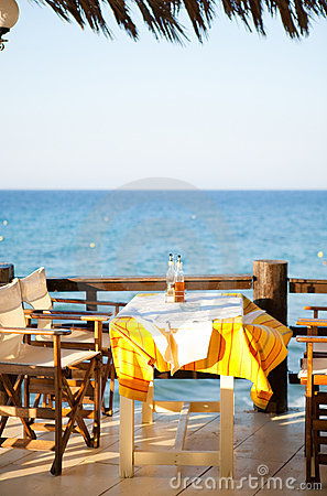 Outdoor restaurant table in Greece
