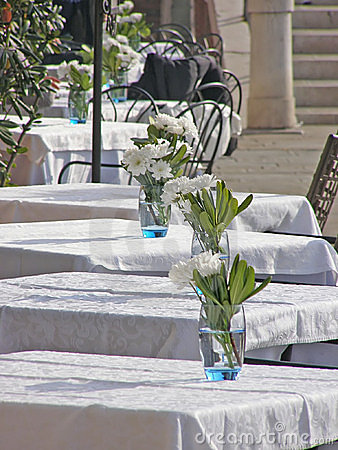 Outdoor restaurant tables