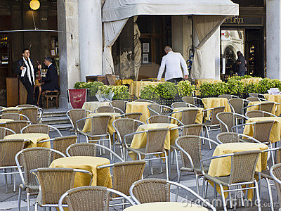 Outdoor restuarant in St Marks Square. Editorial Photo
