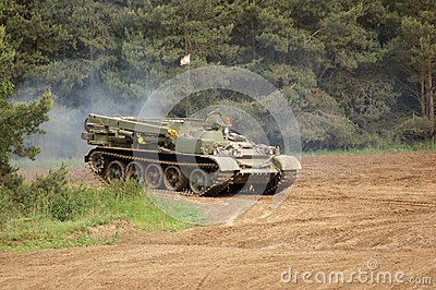 Outdoor scenery with driving tank