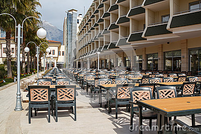 Outdoor seating in empty hotel