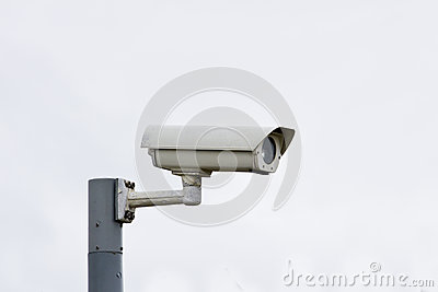 Outdoor security camera on pole