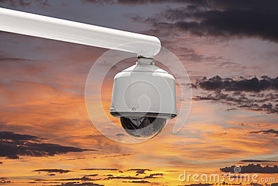 Outdoor Security Camera with Sunset Sky