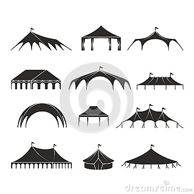 Free Outdoor Shelter Tent, Event Pavilion Tents Vector Icons Royalty Free Stock Image - 102846256