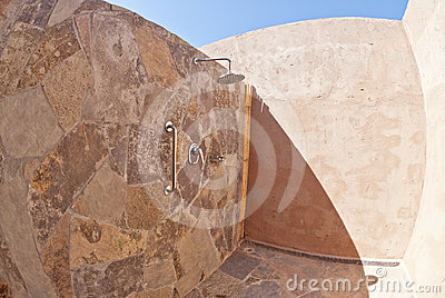 Outdoor Shower with Adobe Walls