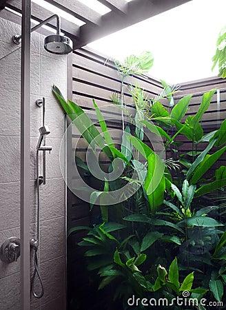 Outdoor shower area of modern resort