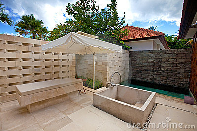 Outdoor shower area for spa in the tropics