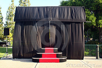 Outdoor stage and black curtains