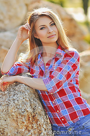 Free Outdoor Summer Portrait Of Young Pretty Cute Blonde Girl. Beautiful Woman Posing In Spring. Stock Photography - 66033612