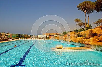 Outdoor swimming pool in luxury hotel resort