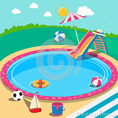 Free Outdoor Swimming Pool With Toys. Summer Time Stock Photo - 74556570
