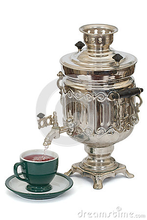 Outdoor tea drinking. Russian culture
