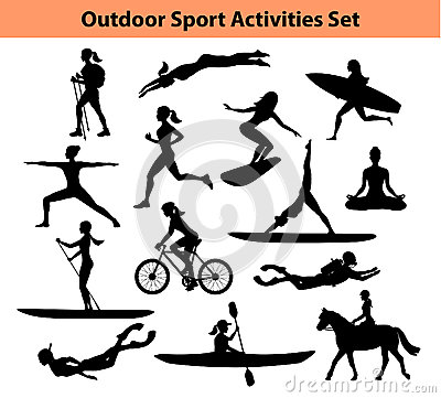 Free Outdoor Training Sport Activities. Female Silhouette. Stock Images - 78863704