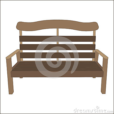 Free Outdoor Vector Classic Street Urban Bench Wooden Style. Park City Object Isolated On White Background. A Vintage Place To Relax Stock Images - 83056084