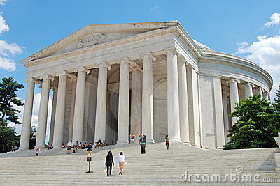 Outdoor view of Jefferson Memorial with tourists Editorial Photography